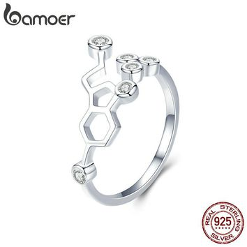 BAMOER Real 925 Sterling Silver Honeycomb Adjustable Finger Rings for Women Clear CZ Ring Wedding Engagement Jewelry Anel SCR433