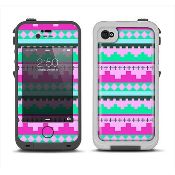 The Lime Green & Purple Tribal Ethic Geometric Pattern Apple iPhone 4-4s LifeProof Fre Case Skin Set