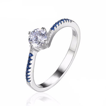 Round Cut 0.7ct Created Blue Nano Sapphire Anniversary Promise Engagement Ring