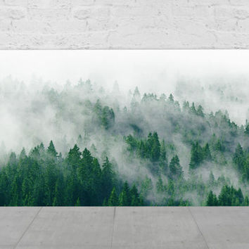 Landscape Photography, Mountains Photograph, Evergreen Trees, Fog Forest / The Mist
