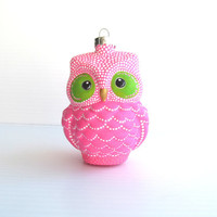 Pink Owl: Hand Painted Glass Owl Ornament Hot Pink Owl