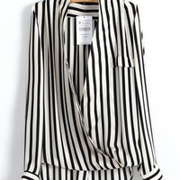 Cross Striped Chiffon Shirt$39