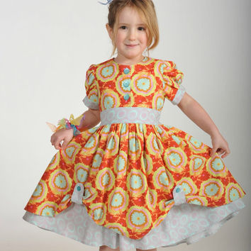 Girl's Vintage-Inspired Dress, Children Clothing, Girl Dresses,  Girl Clothing, Toddler, 24 mos, Size 2T 3T 4T 5 6 7 8 10, Red