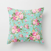 Parisian Roses Throw Pillow by Ilola