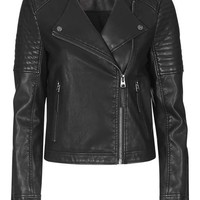 Quilted Faux-Leather Biker