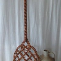 Antique Wicker Rattan Rug Beater, Vintage Early 1900's Carpet Cleaner, Farmhouse Cottage Decor