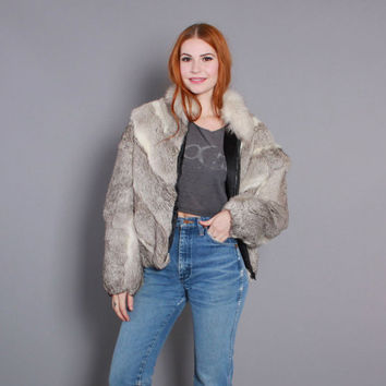 80s RABBIT & FOX Fur Chevron COAT / 1980s Batwing Natural Fur Jacket. s m l