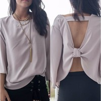 Caught Feelings Mocha 3/4 Sleeve Bow Back Top