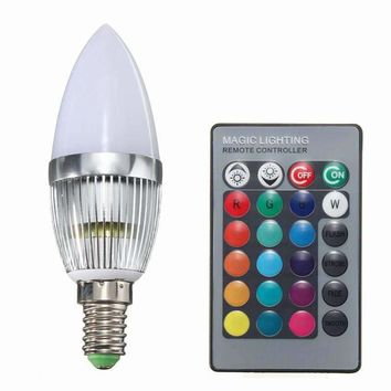 High Quality E14 3W RGB LED Color Changing Chandelier Candlestick Candle Light Bulb Lamp 85-265V With 24Key Remote Controller
