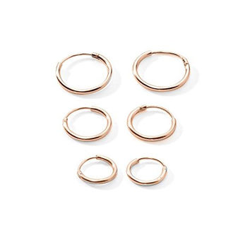 3 Pairs Rose Gold Plated Sterling Silver Small Endless Hoop Earrings for Cartilage, Nose or Lips, 10mm 12mm 14mm