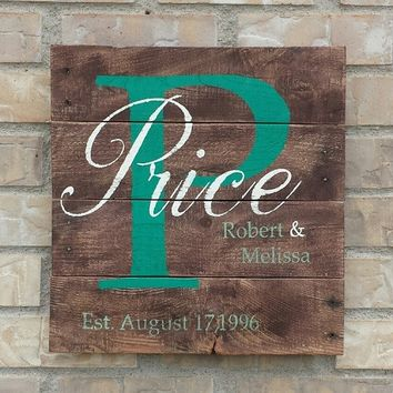 Custom Personalized Family Name Sign
