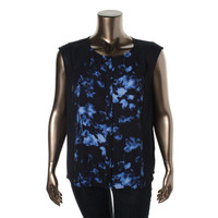 Vince Camuto Womens Printed Panel Blouse