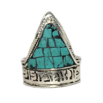 Tibetan Ring Turquoise ring Adjustable Ring Yoga Ring Boho Ring Silver Ring