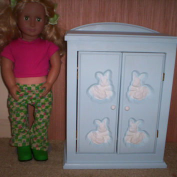 Armoire doll furniture bedroom chiffrobe Made for American girl blue w/white bunny design