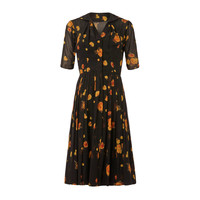 1950s I. Magnin Black Chiffon Dress With Rose Print