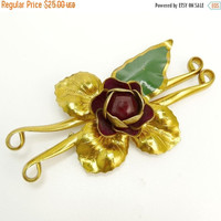 1940s Art Deco Brass & Enamel Flower Brooch