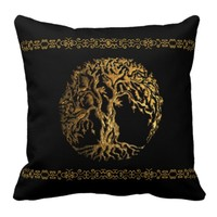 Mehndi Tree of Life (Gold) Pillow