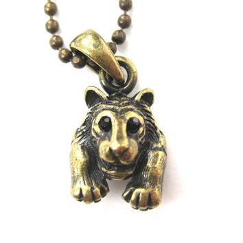 Tiger Realistic Animal Charm Necklace in Brass | Animal Jewelry