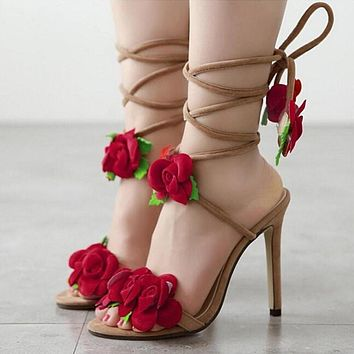 Fan Ming Star T-Taiwan show roses cross lacing women sandals high heels Lady Casual Lace-Up dress party shoes Wedding shoes