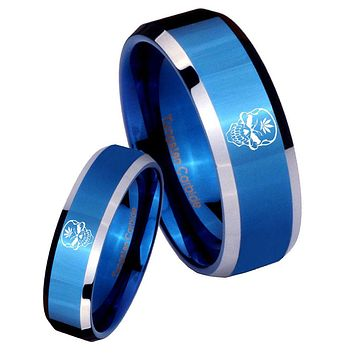 His Her Shiny Blue Bevel Skull Marijuana Leaf Two Tone Tungsten Wedding Rings Set