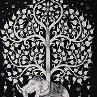 Black and White Tree of Life Tapestry, Indian Elephant Tapestry, Tree- Elephant Tapestry, Indian Tapestry, Twin Age Dorm Bedding, Tree of Life Tapestry 60 x 82 inches