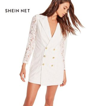 Sheinnet White Women Sheer Blazers V-Neck Lace Patchwork Women Long Sleeve Tops Double Breasted Casual Women Spring Blazers 2017