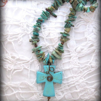 Turquoise Gemstone Necklace with Faux Turquoise Cross Pendant, Wire-wrapped, Handmade Jewelry, Western Glam, Southwestern, gift