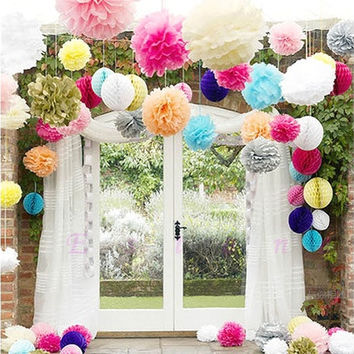 "10pcs 4""6"" 8"" 10"" 12"" 14"" Tissue Paper Pom Flowers Balls Wedding Party Decor new [7981611463]"