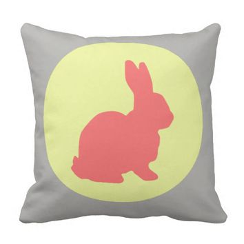 Hunny Bunny Funky Pastel Colors Throw Pillow