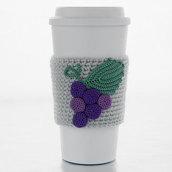 Cluster of grapes, cup cozy, coffee sleeve, crochet grapes applique, linen sleeve, purple grapes, green leaf, vineyard grapes