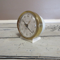 Vintage Clock Westclox Wind Up Clock Alarm Clock Baby Ben Cream and Gold Desk Clock Small Clock Metal Clock Hollywood Regency White Face