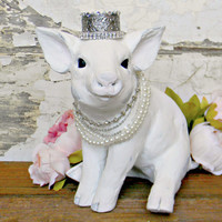 Pig Statue, Baby Pig Statue, Piglet Statue, Pig with Crown, Indoor Statue, Pig Lovers Gifts, Pig Home Decor, Pig Decor, Stone Pig, Piglet