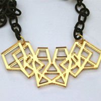 Geometric Necklace Gold Mirrored Acrylic Laser Cut with Black Fabric Link Chain Laser Cut Necklace