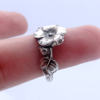 Vintage Sterling sliver spoon ring Reed & Barton Harlequin floral spoon ring Hollyhock ring, 925 solid sterling silver, different sizes