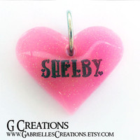 Baby Pink Heart Dog Tag 3.8cm - Glitter color and Glow in the DARK Pet collar accessory