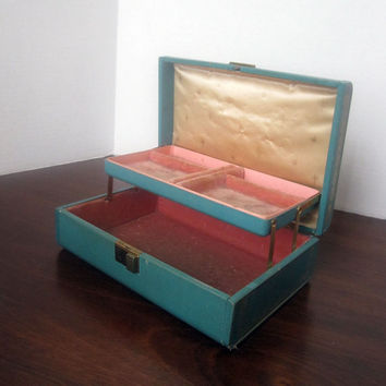 Farrington Vintage Jewelry Box with Teal Texol and Pink Satin and Velvet Lining As Is -CLEARANCE- Home Decor, Photo Prop, Vanity