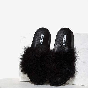 Fair Feather Friend Slide Sandal - Black