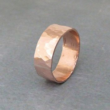 Copper Hammered Ring Wide Band Wedding Ring Wedding Band