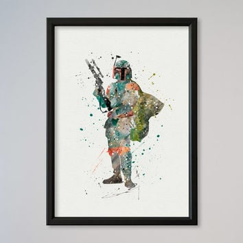 Star Wars Boba Fett Bounty Hunter Poster Watercolor Print Wall Decor Fine Art Giclee Print Poster Home Wall Hanging Star Wars Fans gift
