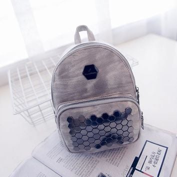 Student Backpack Children J&Q store2018 the new women's casual double Shoulder Bag rivets PU Couture bags stylish girls punk backpack students backpack AT_49_3