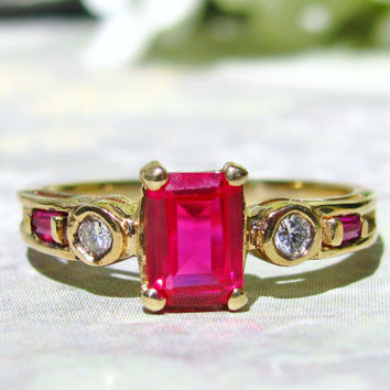 Vintage Engagement Ring, Diamond and Synthetic Ruby Ring, 10K Yellow Gold, Diamond Wedding Ring, July Birthstone Ring, Bridal Jewelry!