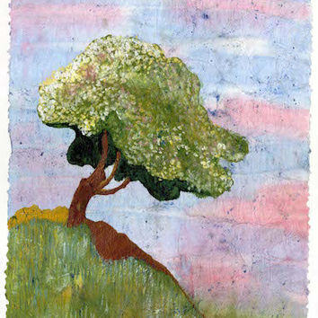 Tree print Spring seasonal print from original watercolor batik painting various sizes distressed look vintage-like McKinzie