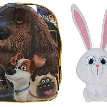 "The Secret Life of Pets 16"" Canvas Blue School Backpack Plus Snowball 6"" Plush"