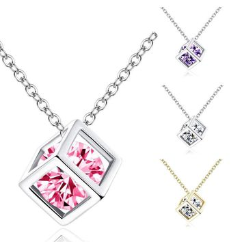 Crystal jewelry cube eight heart arrow zircon cube pendant necklace