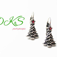 Christmas Sparkle, Swarovski Lever Back Earrings, Antique Silver, Petite, Holiday Jewelry, Christmas Tree, DKSJewelrydesigns FREE SHIPPING