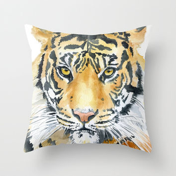 Tiger Watercolor Painting Throw Pillow by Susan Windsor