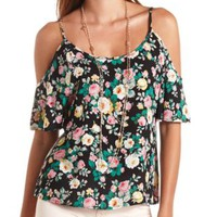 Floral Print Cold Shoulder Swing Top by Charlotte Russe - Black Combo