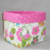 Pretty Pink Floral Fabric Basket