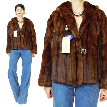Vintage 1950s Rabbit Fur Coat Brown Rabbit Fur Jacket Deadstock Vintage NOS NWT Fur Coat Cropped Fur Jacket Real Fur Womens Winter (M/L)