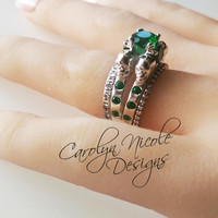 14k White Gold Emerald Skull Engagement Ring by Carolyn Nicole Designs